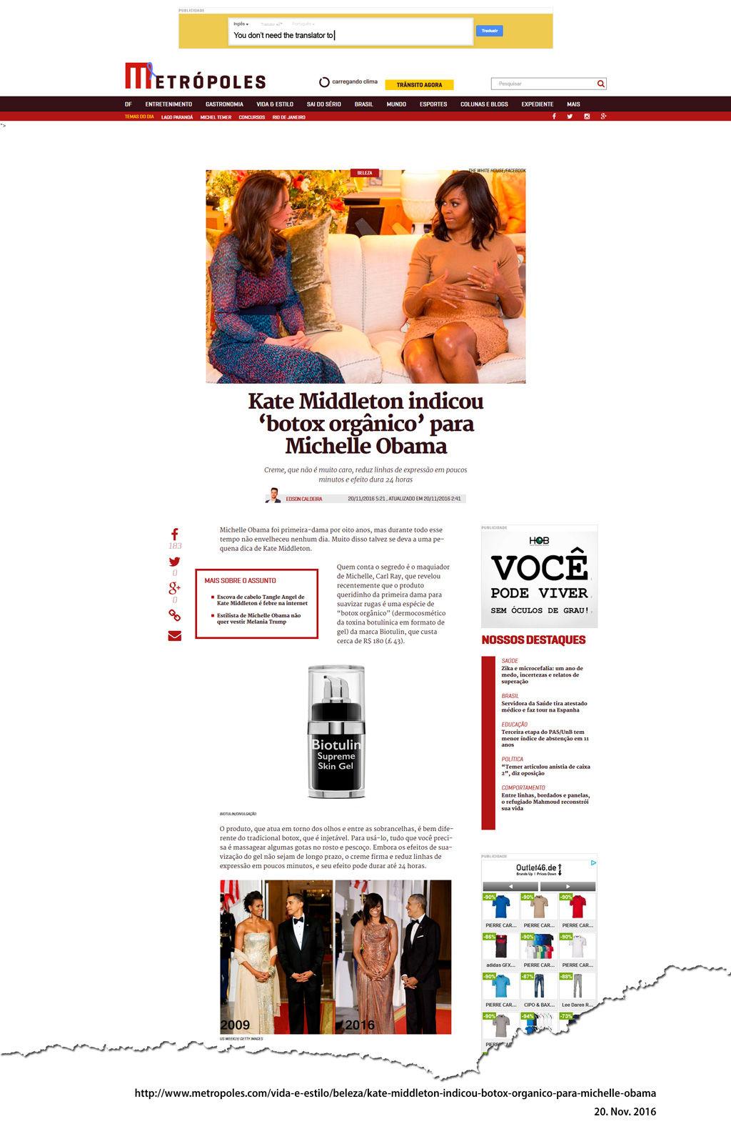Kate Middleton indicou 'botox orgânico' para Michelle Obama
